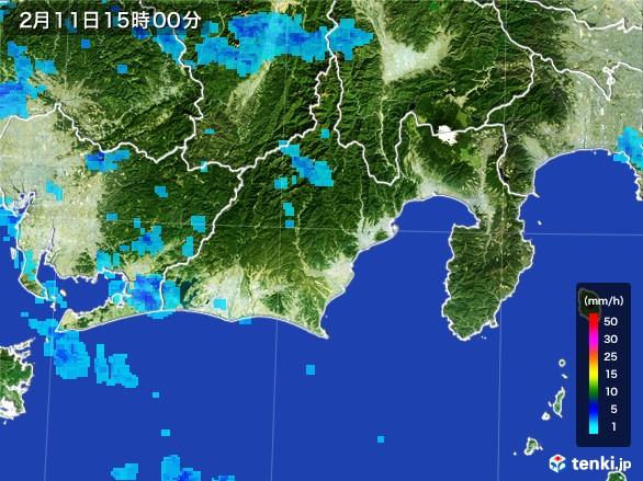 静岡県の雨雲レーダー(2017年02月11日)