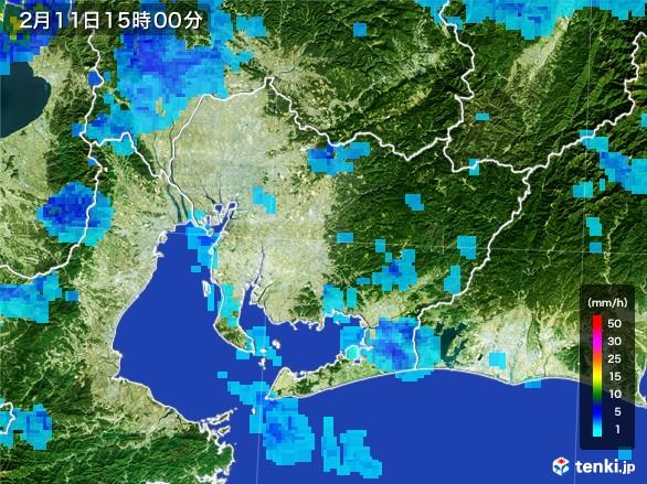 愛知県の雨雲レーダー(2017年02月11日)