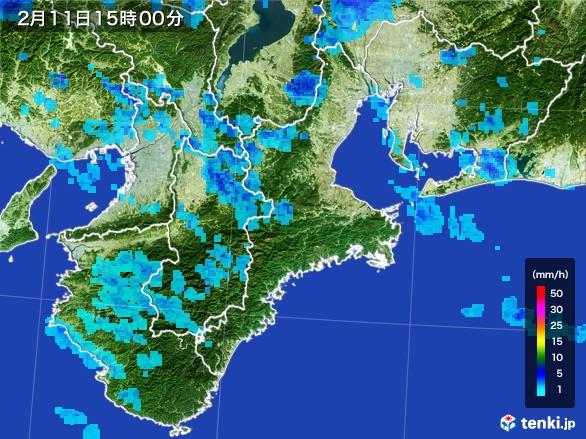 三重県の雨雲レーダー(2017年02月11日)