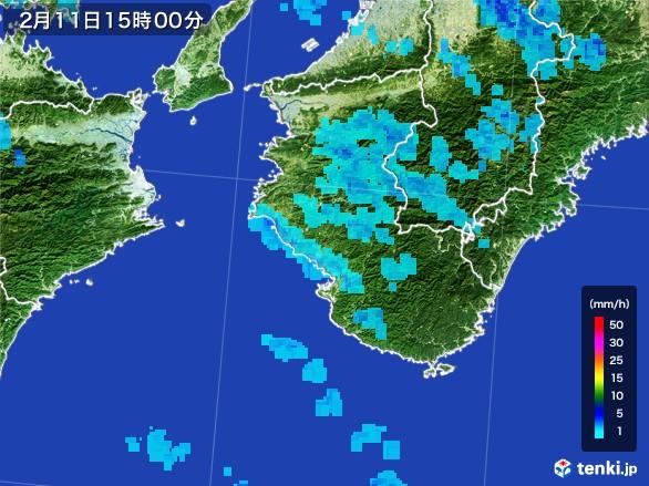和歌山県の雨雲レーダー(2017年02月11日)