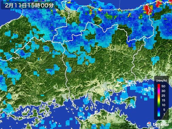 岡山県の雨雲レーダー(2017年02月11日)