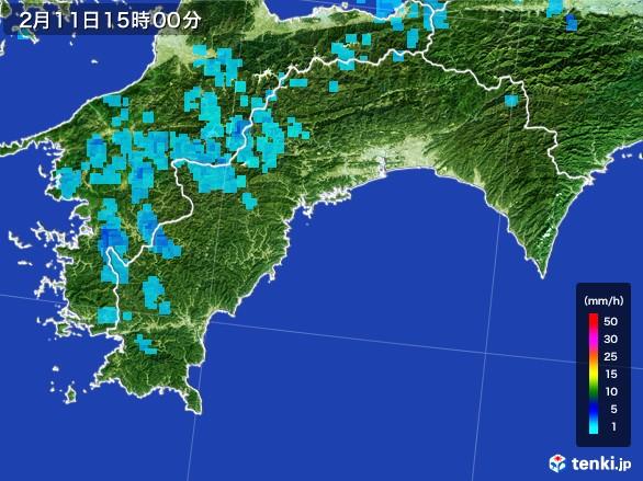 高知県の雨雲レーダー(2017年02月11日)