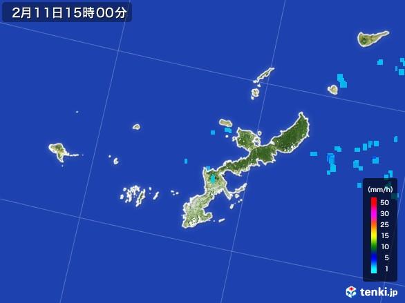 沖縄県の雨雲レーダー(2017年02月11日)