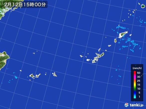 沖縄地方の雨雲レーダー(2017年02月12日)