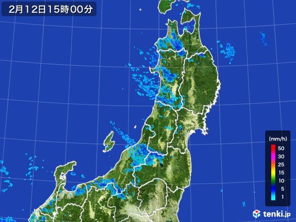 東北地方の雨雲レーダー(2017年02月12日)