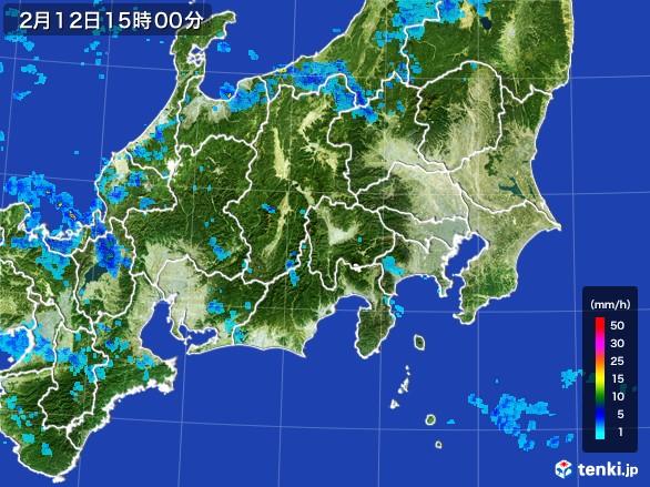 関東・甲信地方の雨雲レーダー(2017年02月12日)
