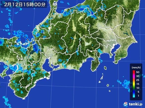 東海地方の雨雲レーダー(2017年02月12日)