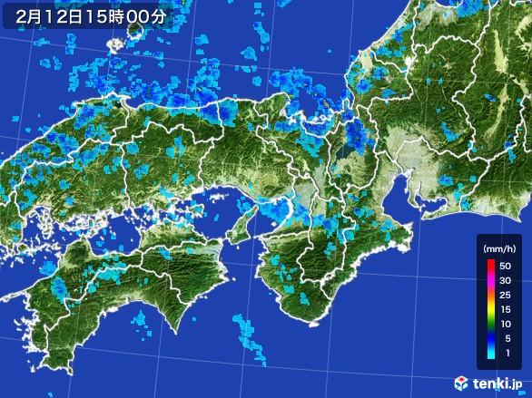 近畿地方の雨雲レーダー(2017年02月12日)