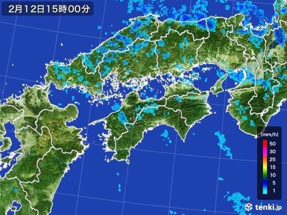 四国地方の雨雲レーダー(2017年02月12日)