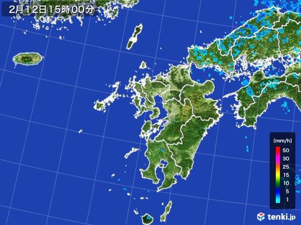 九州地方の雨雲レーダー(2017年02月12日)