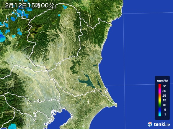 茨城県の雨雲レーダー(2017年02月12日)