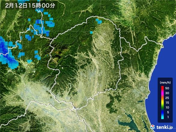 栃木県の雨雲レーダー(2017年02月12日)