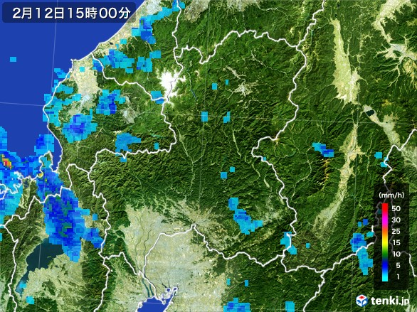 岐阜県の雨雲レーダー(2017年02月12日)