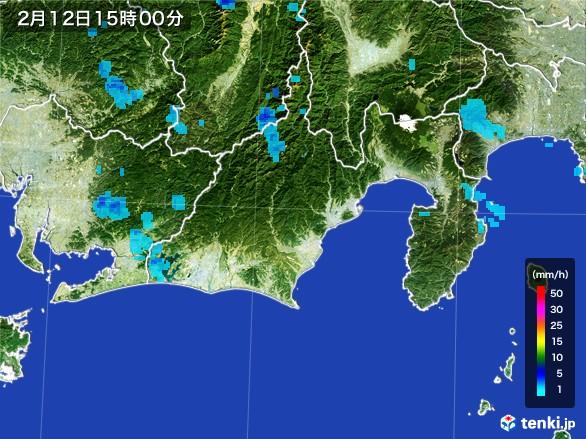 静岡県の雨雲レーダー(2017年02月12日)
