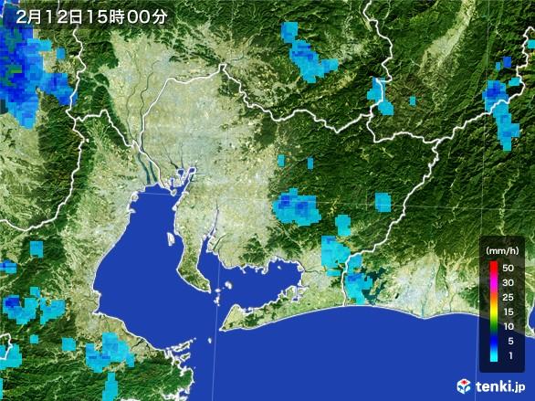 愛知県の雨雲レーダー(2017年02月12日)
