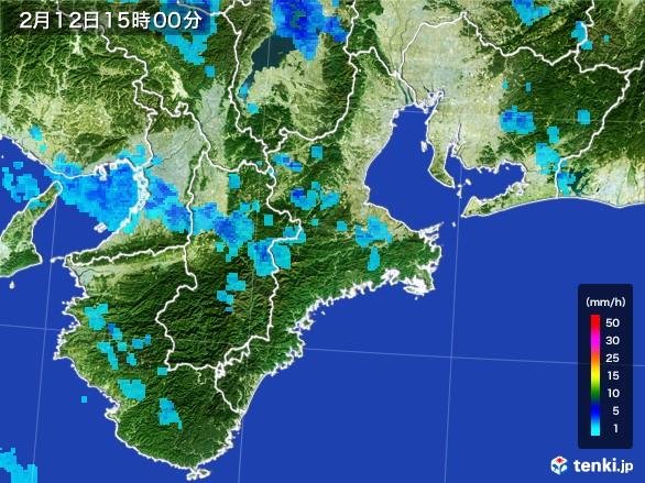 三重県の雨雲レーダー(2017年02月12日)