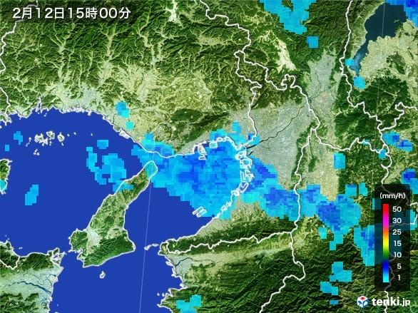 大阪府の雨雲レーダー(2017年02月12日)