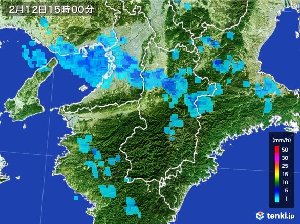 奈良県の雨雲レーダー(2017年02月12日)