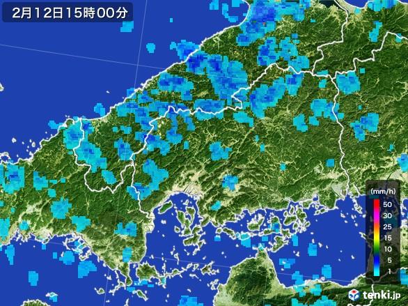 広島県の雨雲レーダー(2017年02月12日)