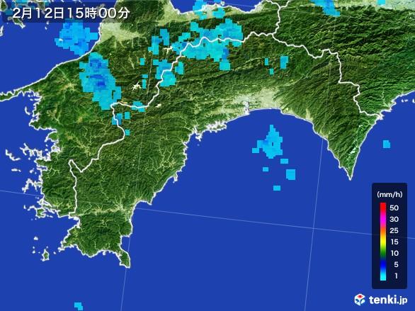 高知県の雨雲レーダー(2017年02月12日)