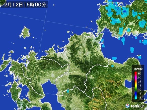 福岡県の雨雲レーダー(2017年02月12日)