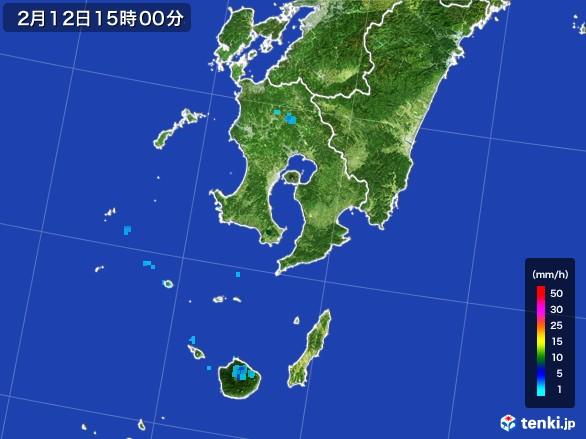 鹿児島県の雨雲レーダー(2017年02月12日)