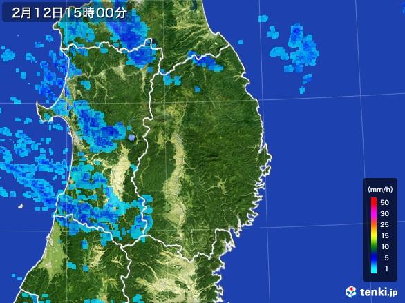 岩手県の雨雲レーダー(2017年02月12日)