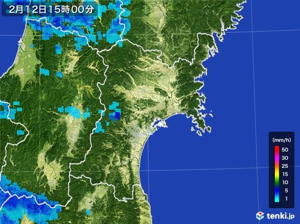 宮城県の雨雲レーダー(2017年02月12日)