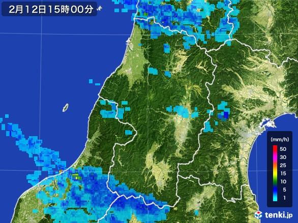 山形県の雨雲レーダー(2017年02月12日)