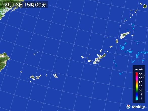沖縄地方の雨雲レーダー(2017年02月13日)