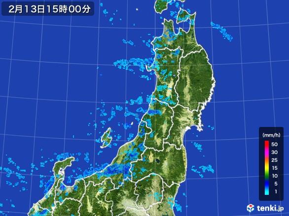 東北地方の雨雲レーダー(2017年02月13日)