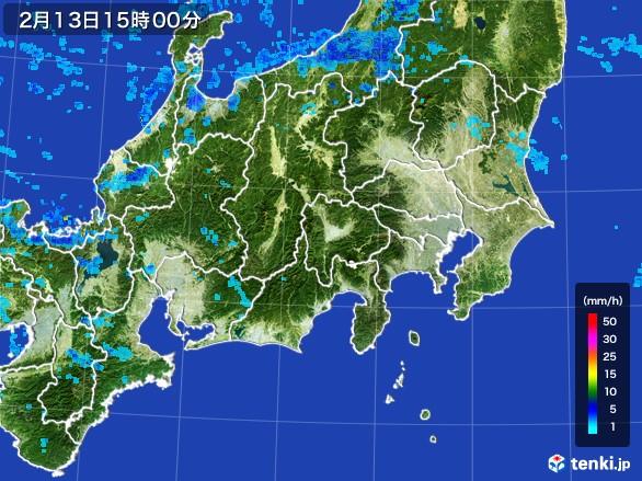 関東・甲信地方の雨雲レーダー(2017年02月13日)