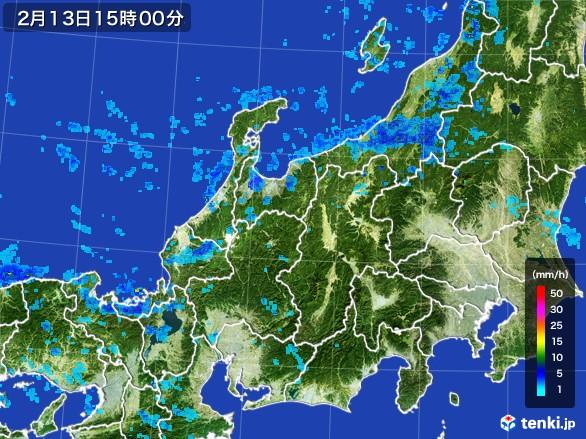 北陸地方の雨雲レーダー(2017年02月13日)