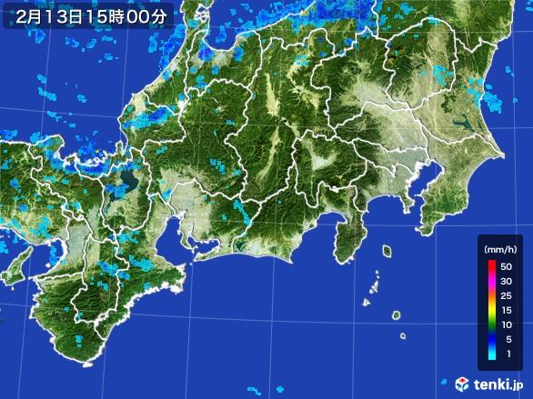 東海地方の雨雲レーダー(2017年02月13日)