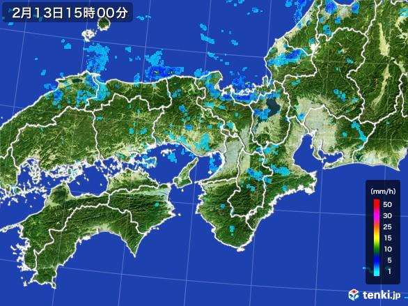 近畿地方の雨雲レーダー(2017年02月13日)