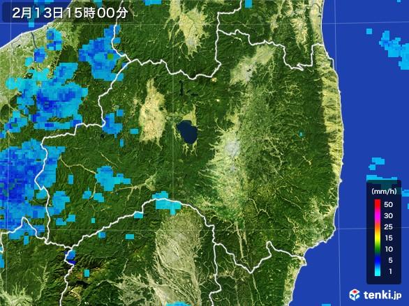 福島県の雨雲レーダー(2017年02月13日)