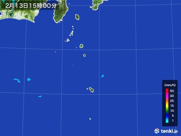 伊豆諸島(東京都)の雨雲レーダー(2017年02月13日)