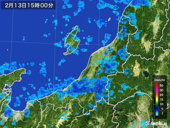 新潟県の雨雲レーダー(2017年02月13日)