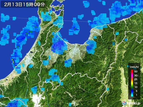 富山県の雨雲レーダー(2017年02月13日)