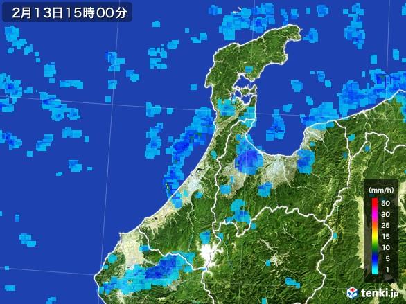 石川県の雨雲レーダー(2017年02月13日)