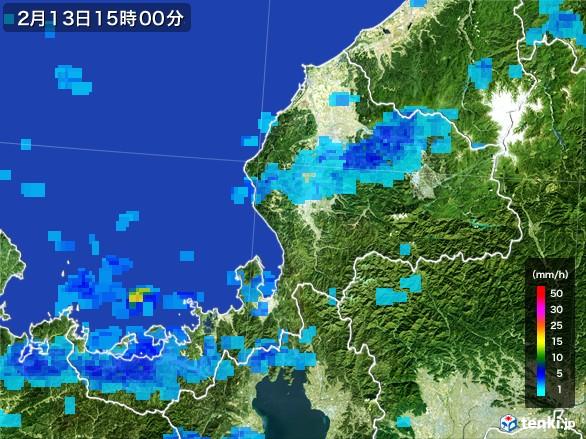 福井県の雨雲レーダー(2017年02月13日)