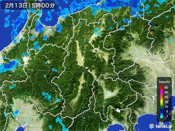 長野県の雨雲レーダー(2017年02月13日)