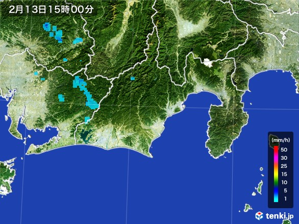 静岡県の雨雲レーダー(2017年02月13日)