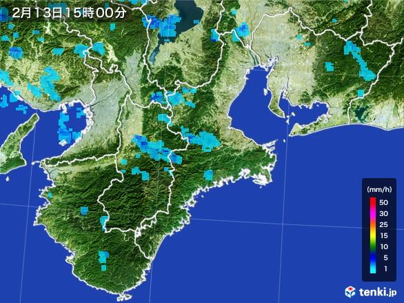 三重県の雨雲レーダー(2017年02月13日)