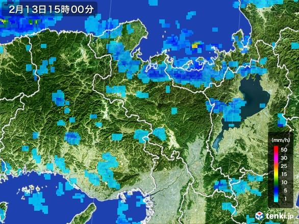 京都府の雨雲レーダー(2017年02月13日)