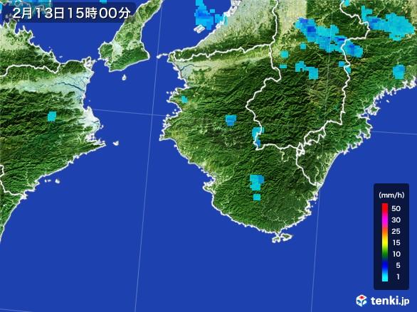 和歌山県の雨雲レーダー(2017年02月13日)