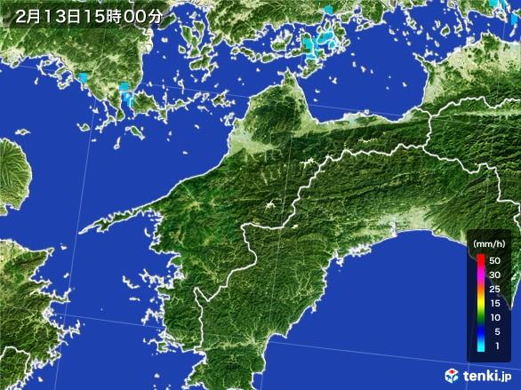 愛媛県の雨雲レーダー(2017年02月13日)