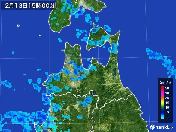 青森県の雨雲レーダー(2017年02月13日)