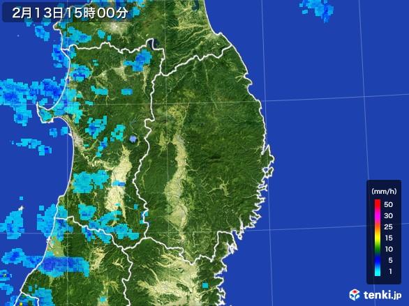 岩手県の雨雲レーダー(2017年02月13日)