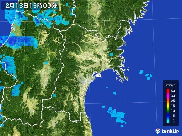 宮城県の雨雲レーダー(2017年02月13日)